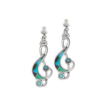 Ewige Sammlung Revue Paua Shell Treble Clef Silber Ton Tropfen durchbohrte Ohrringe