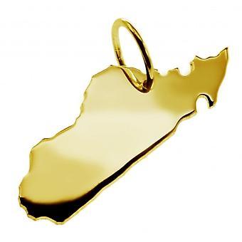 Hänge i guldgult-guld i form av MADAGASKAR