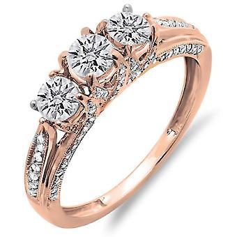 Dazzlingrock Collection 1.00 Carat (ctw) 14K Diamond Vintage Bridal 3 Stone Engagement Ring 1 CT, Rose Gold