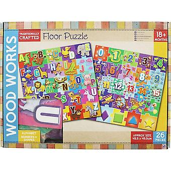 HTI Wood Works Floor Puzzle - 26 Piece Numbers & Shapes Puzzle - 18 Months+