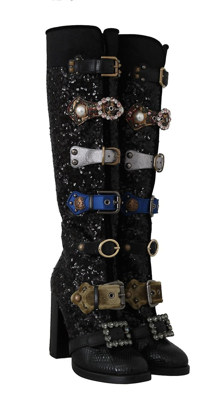 Black Crystal Sequined Buckle Boots