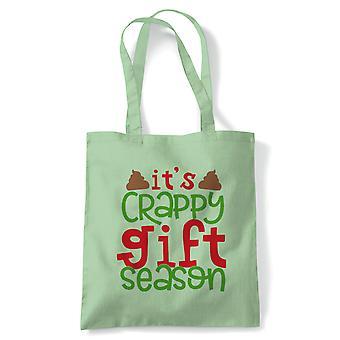 Crappy Gift Season Tote | Christmas Xmas HoHoHo Season Greetings Merry | Reusable Shopping Cotton Canvas Long Handled Natural Shopper Eco-Friendly Fashion