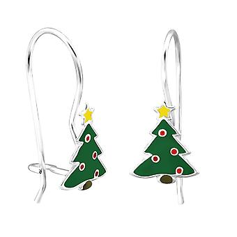 Children's Sterling Silver Christmas Tree Drop Earrings