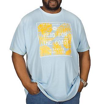 Duke D555 Mens Arizona Big Tall King Size Crew Neck Short Sleeve T-Shirt - Blue