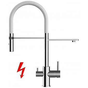 Niederdruck - For German Market Only! 3 Way Filter Kitchen Mixer With Movable Spout And 2 Jet Spray - White - 406