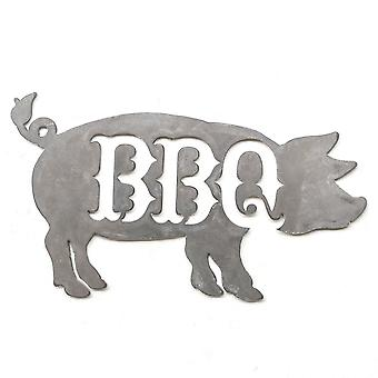 BBQ-varken-Metal cut teken 18x10in