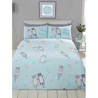 Otterly erstaunliche Otter einzelne Bettbezug Set - Aqua blau