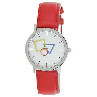 Aristo Bauhaus Unisex Watch Stainless Steel 4D85IR Leather Red
