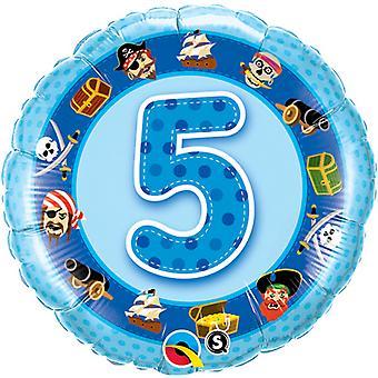 Qualatex 18 Inch Age 5 Pirate Design Circular Foil Balloon