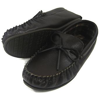 Snugrugs Mens lederen Moccasin met rubberen zool.