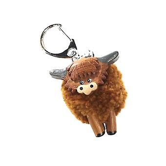 Highland Cow Pom Pom Keyring by Langs