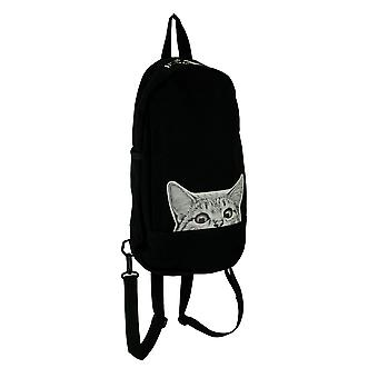 Sleepyville Critters Black Canvas Peeking Cat Sling Backpack Convertible Straps
