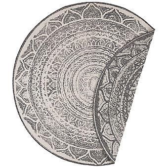 Tapis réversible intérieur et extérieur rond Siruma Grey