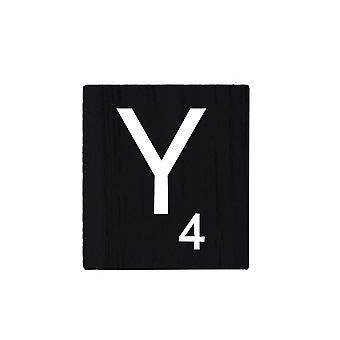 Black Wooden Scrabble Letters with Printed Numbers and Alphabets -Y
