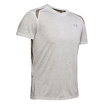Under Armour Streaker 2.0 Homme Running Fitness T-Shirt Tee White/Khaki