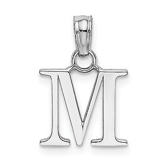 14k White Gold M Block Initial High Polish Charm Jewelry Gifts for Women - .7 Grams