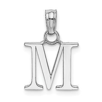 14k Hvid guld M Blok Indledende høj polsk charme smykker Gaver til kvinder - 0,7 Gram