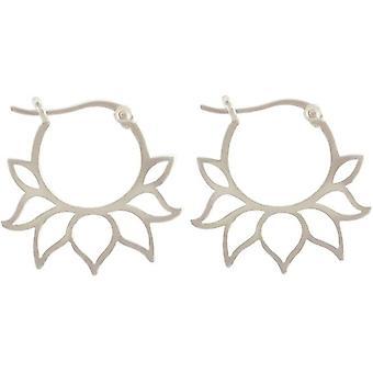 Gemshine hoepel oorbellen lotus bloemen oorbellen 925 zilver, verguld of roos