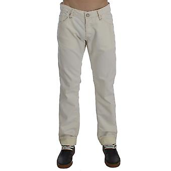 Acht Beige Cotton Stretch Regular Fit Jeans