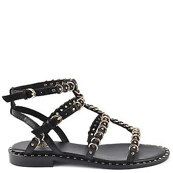 Ash PENELOPE Sandals Black Leather & Gold Rings