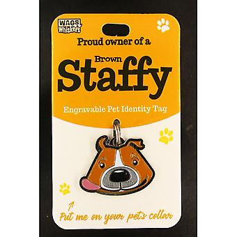 Wags & Whiskers Pet Identity Tag - Staffy Brown