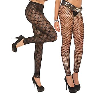 Womens Lace and Fence Net Leggings Nylon Tights- 2 Pack