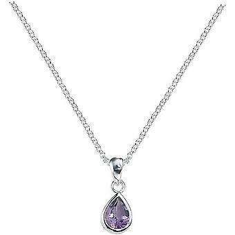 Beginnings Amethyst Teardrop Pendant - Purple/Silver