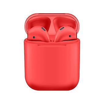 Bluetooth i12 TWS kuulokemikrofoni IPX 6 telakointiasemalla, langaton lataus punainen - iOS, Android