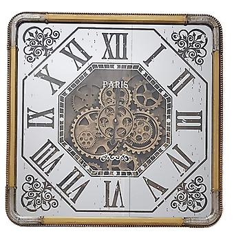 Square 60cm Roma mirrored moving cogs clock - Gold w/ silver