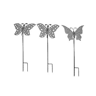 Set of 3 Galvanized Zinc Finish Metal Butterfly Garden Stakes