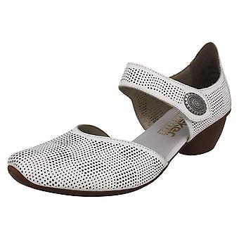 Ladies Rieker Block Salto Casual Sapatos 43767