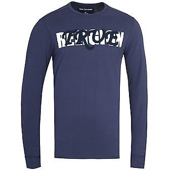 Wahre Religion Langarm Baseball Embro Marine T-Shirt
