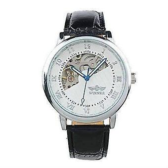 Sophisticated in white mechanical skeleton automatic watch for men