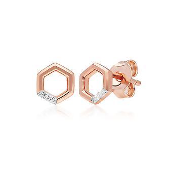 Diamond Pave Kuusikulmio Stud korvakorut 9ct Rose Gold 191E0400019