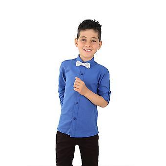 Boys Linen Saks Blue Roll Up Sleeve Shirt
