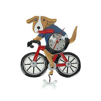 Allen Designs In the Breeze Bicycle Dog Pendulum Wall Clock