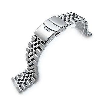 Strapcode watch bracelet 22mm super jubilee 316l stainless steel watch band, solid straight end, diver clasp
