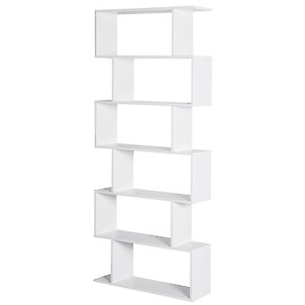 HOMCOM 6-Tier Waved S-Shape Storage Display Shelf Home Organisation Furniture Office Tidy Unit Unique Modern White