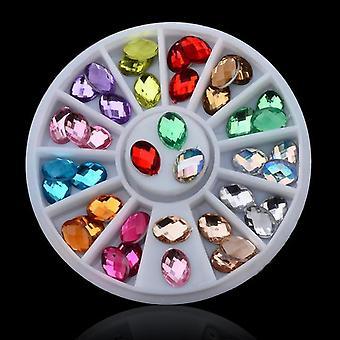 Kynsi Taide Pyörä Crystal Glitter Tekojalokivi, 3D Kynsi Taide Sisustus Valkoinen Ab