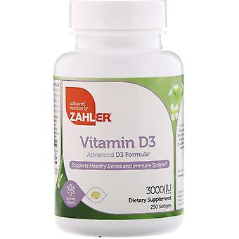 Zahler, Vitamine D3, Advanced D3 Formula, 3.000 IE, 250 Softgels