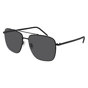 Saint Laurent SL 376 Slim 002 Black/Grey-Silver Mirror Sunglasses