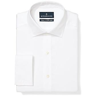 BUTTONED DOWN Men's Tailored Fit Français Cuff Spread-Collar Non-Iron Dress Shi...