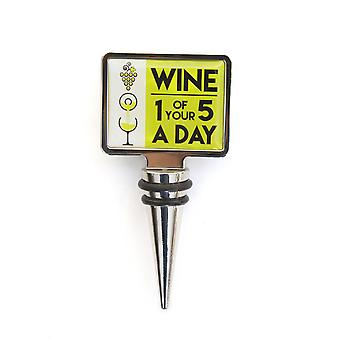 Novelty Wine Stopper - Wine 1 Of Your 5 A Day - Gift Item