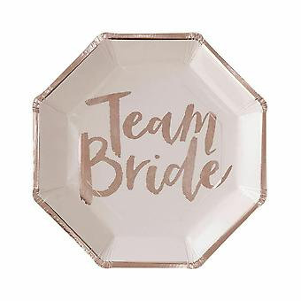 Rose Gold Foiled Pink Hen Party Team Bride Paper Plates 8 Pack