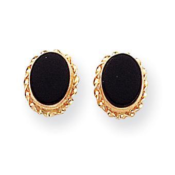 14k Yellow Gold Flat back Post Earrings Bezel Simulated Onyx Earrings Measures 7x7mm Jewelry Gifts for Women