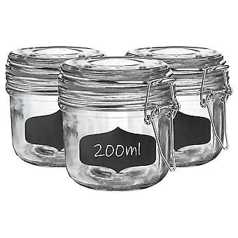 Glass Storage Jars with Airtight Clip Lid and Chalkboard Stickers - 200ml Set - Clear Seal - Pack of 6
