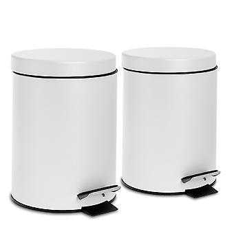 2 Piece 3 Litre Bathroom Pedal Bin With Inner Bucket - Matte White