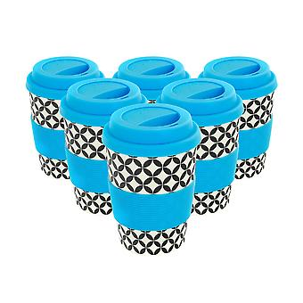 Reusable Coffee Cups - Bamboo Fibre Travel Mugs with Silicone Lid, Sleeve - 350ml (12oz) - Circles - Blue - Pack of 6