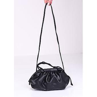 Faux Leather Pouch Shoulder Bag Black