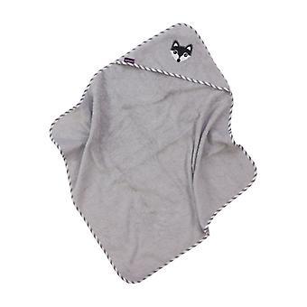 Puckdaddy Hooded Towel Foxi 103x106cm Baby Towel com Fox Motif em Cinza